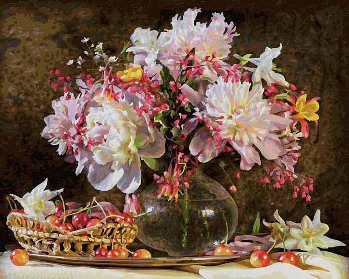 Раскраска по номерам - Букет цветов с вишнейРаскраски по номерам Schipper<br>Раскраска по номерам - Букет цветов с вишней<br>