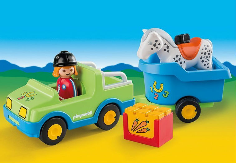 Купить Игровой набор 1.2.3 - Автомобиль с коневозкой, Playmobil