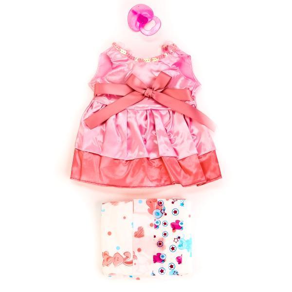 Одежда для кукол – Платье с соской и памперсами, в пакетеОдежда для кукол<br>Одежда для кукол – Платье с соской и памперсами, в пакете<br>
