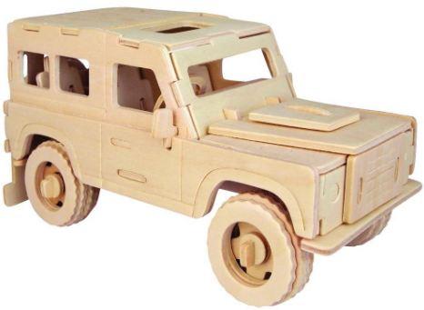 Модель деревянная сборная - Английский внедорожникПазлы объёмные 3D<br>Модель деревянная сборная - Английский внедорожник<br>