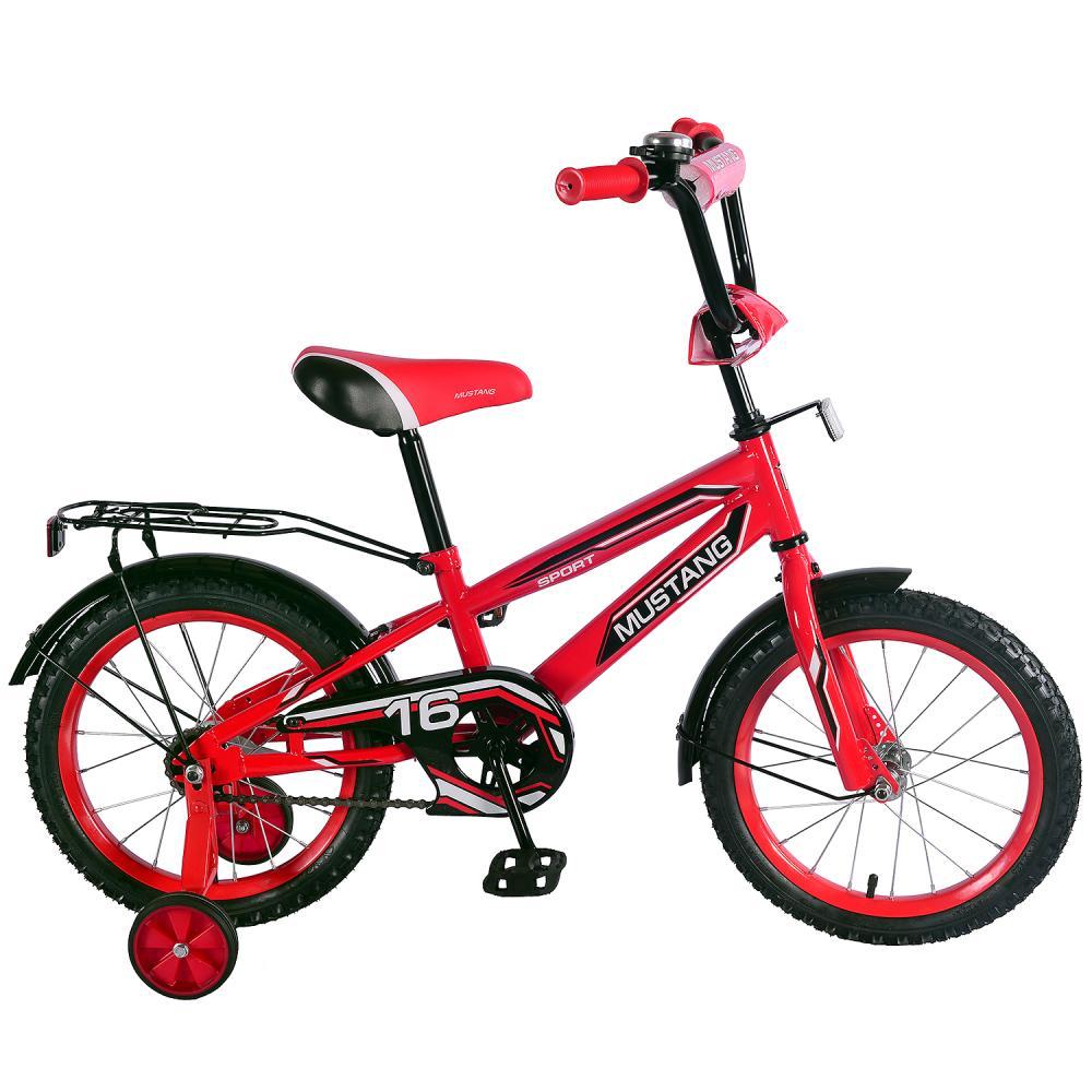 Купить Детский велосипед – Mustang, колеса 16 дюйм, NT -тип, багажник страховочные колеса, звонок, красно-черный