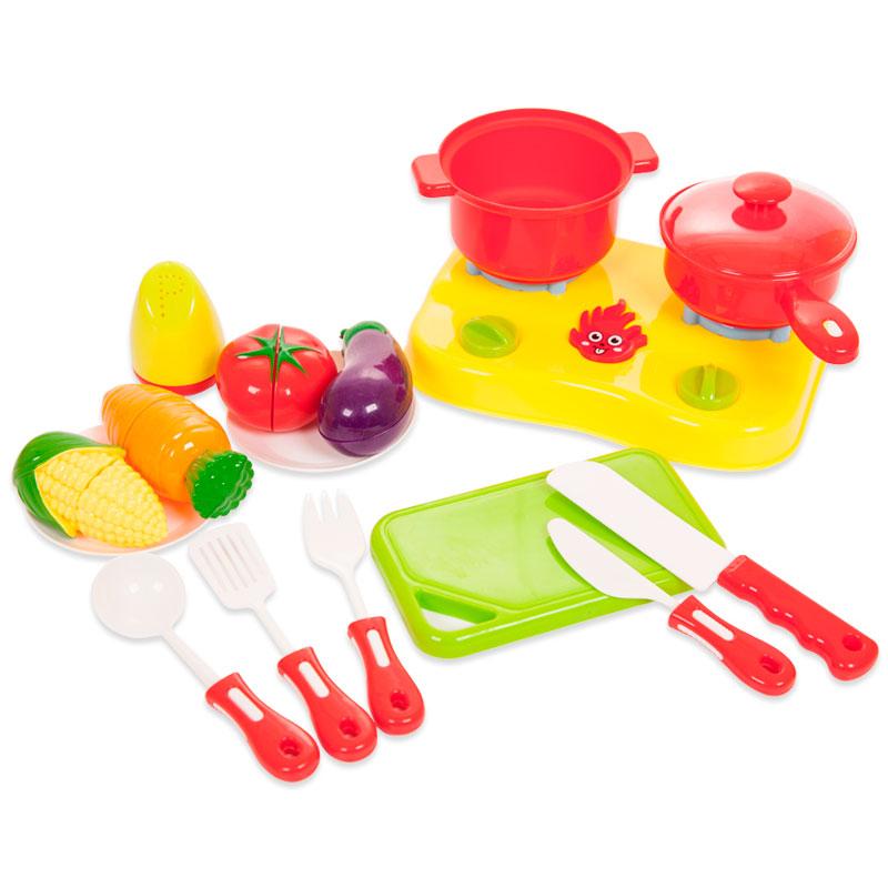 Помогаю Маме. Набор посуды и продуктов для резки на липучках, 22 предметаАксессуары и техника для детской кухни<br>Помогаю Маме. Набор посуды и продуктов для резки на липучках, 22 предмета<br>