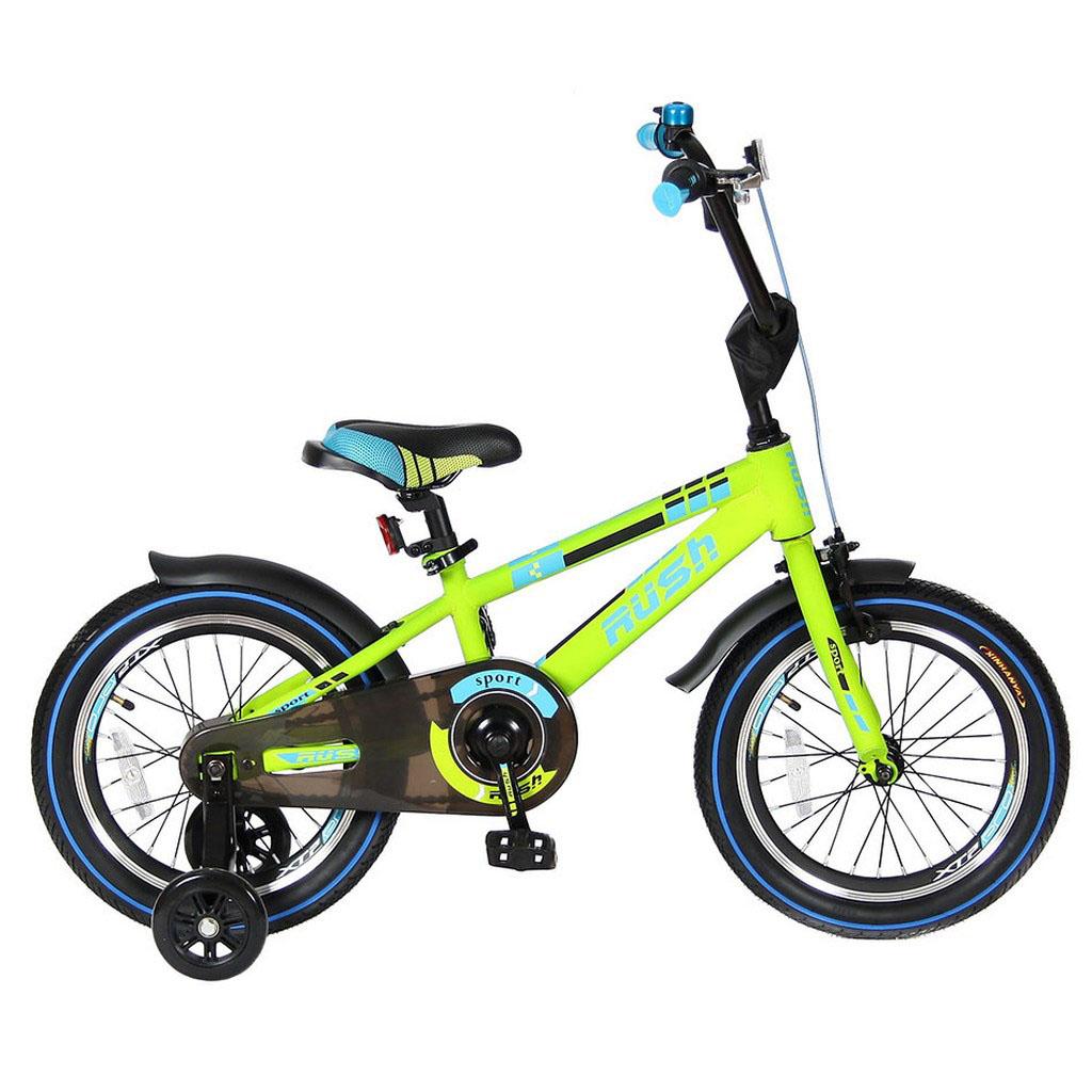 Двухколесный велосипед Rush Sport, диаметр колес 16 дюймов, зеленыйВелосипеды детские<br>Двухколесный велосипед Rush Sport, диаметр колес 16 дюймов, зеленый<br>