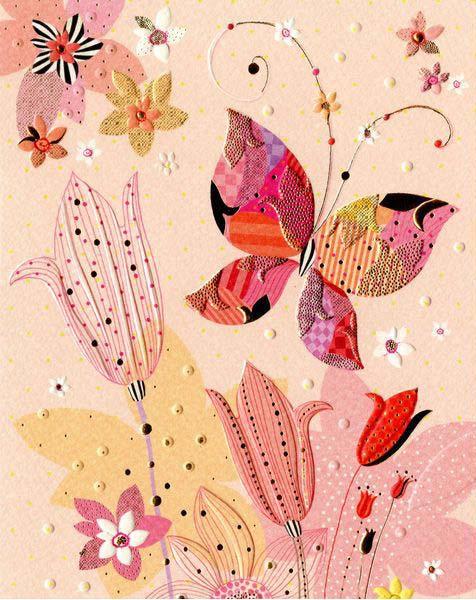 Открытка – Цветок и бабочкаОткрытки, плакаты, календари<br>Открытка – Цветок и бабочка<br>