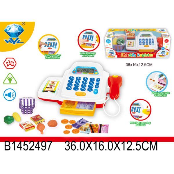 Кассовый аппарат со светом, звуком и аксессуарами - Детская игрушка Касса. Магазин. Супермаркет, артикул: 159595