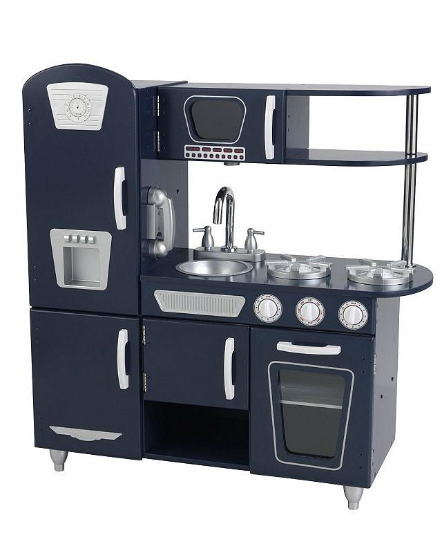 Деревянная кухня - Винтаж, синяяДетские игровые кухни<br>Деревянная кухня - Винтаж, синяя<br>