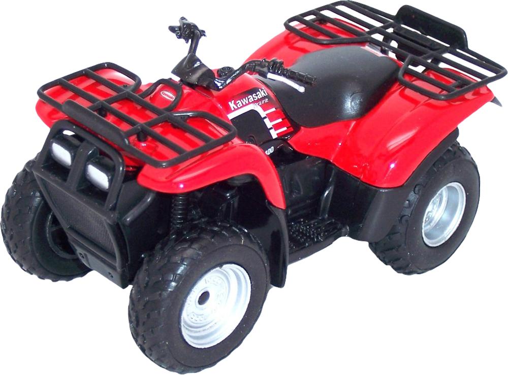 Металлический игрушечный квадроцикл Kawasaki, масштаб 1:19Мотоциклы<br>Металлический игрушечный квадроцикл Kawasaki, масштаб 1:19<br>