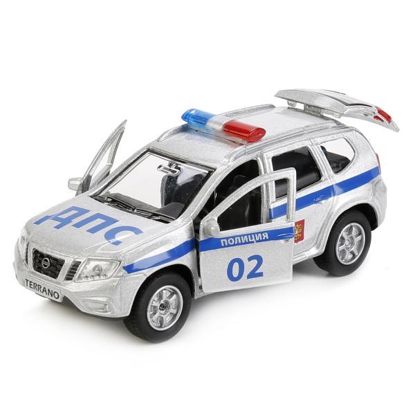 Купить Металлическая инерционная машина – Nissan Terrano Полиция, 12 см, открываются двери и багажник, Технопарк, SB-17-47-NT-WB