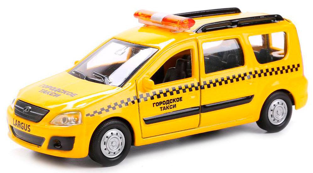 Купить со скидкой Машина металлическая инерционная – Лада Ларгус Такси, 12 см., открываются двери