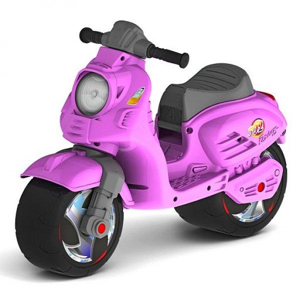 Каталка-мотоцикл беговел ОР502 Скутер, цвет – розовый - Беговелы, артикул: 158671