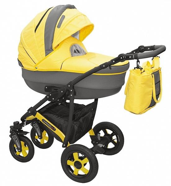 Детская коляска Camarelo Carmela 2 в 1, желто-сераяДетские коляски 2 в 1<br>Детская коляска Camarelo Carmela 2 в 1, желто-серая<br>