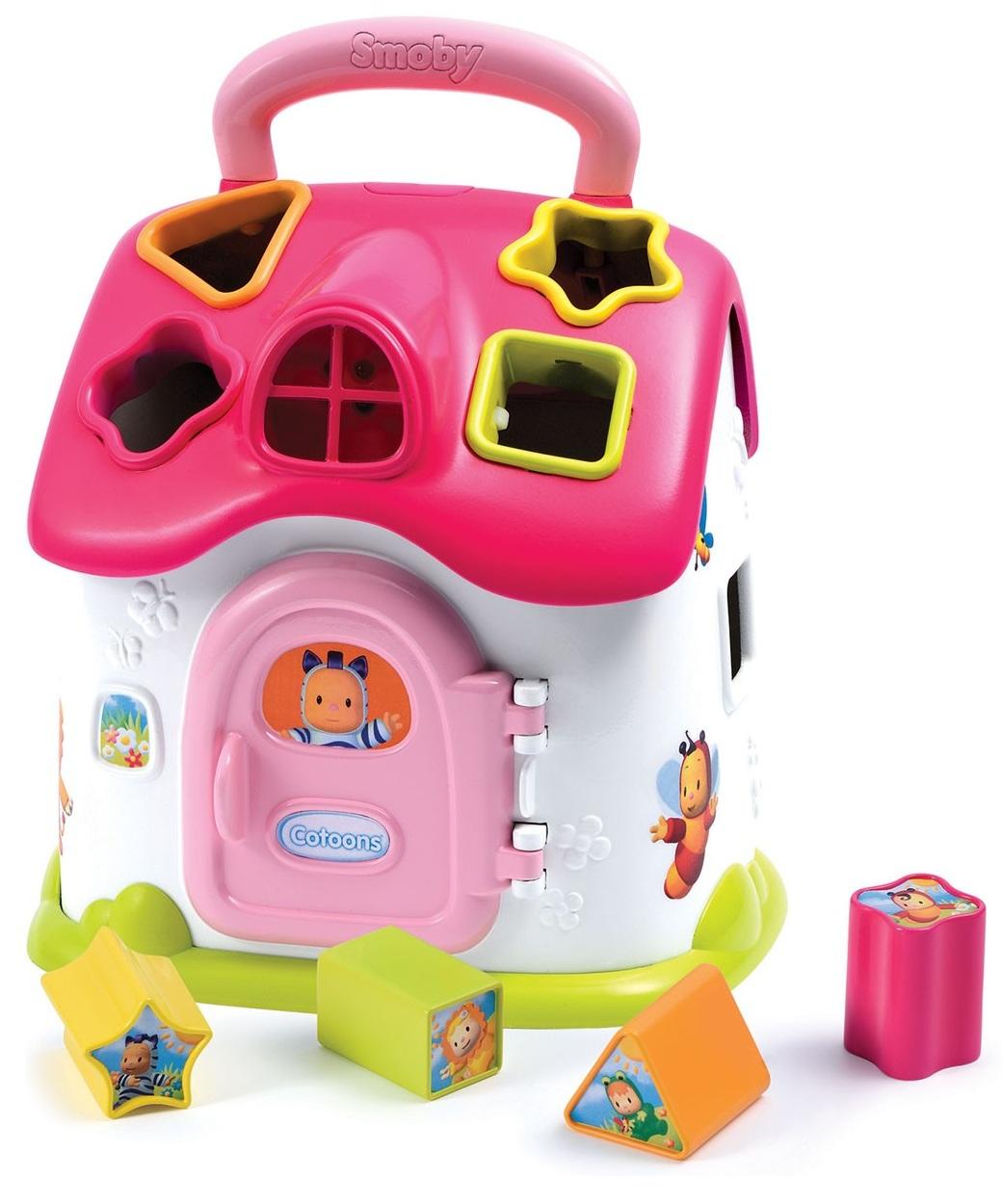 Smoby Cotoons - Развивающий домик-сортерСортеры, пирамидки<br>Домик-сортер из серии Cotoons — это яркая новая игрушка из серии развивающих игрушек от Smoby. <br>Каждая фигурка имеет своё уникальное основание —...<br>