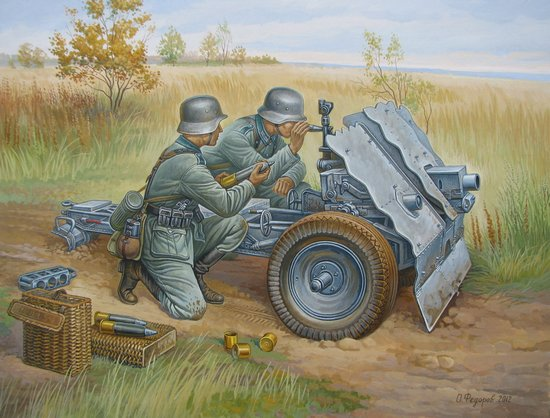 Модель сборная - Немецкое 75-мм пехотное орудие с расчетомМодели пушек для склеивания<br>Модель сборная - Немецкое 75-мм пехотное орудие с расчетом<br>