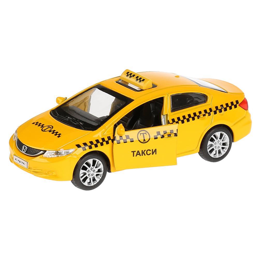 Купить Инерционная металлическая машина Honda Civic - Такси, 12 см, открываются двери, Технопарк