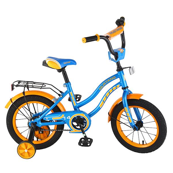 Велосипед детский – Mustang, сине-оранжевый со страховочными колесамиВелосипеды детские<br>Велосипед детский – Mustang, сине-оранжевый со страховочными колесами<br>
