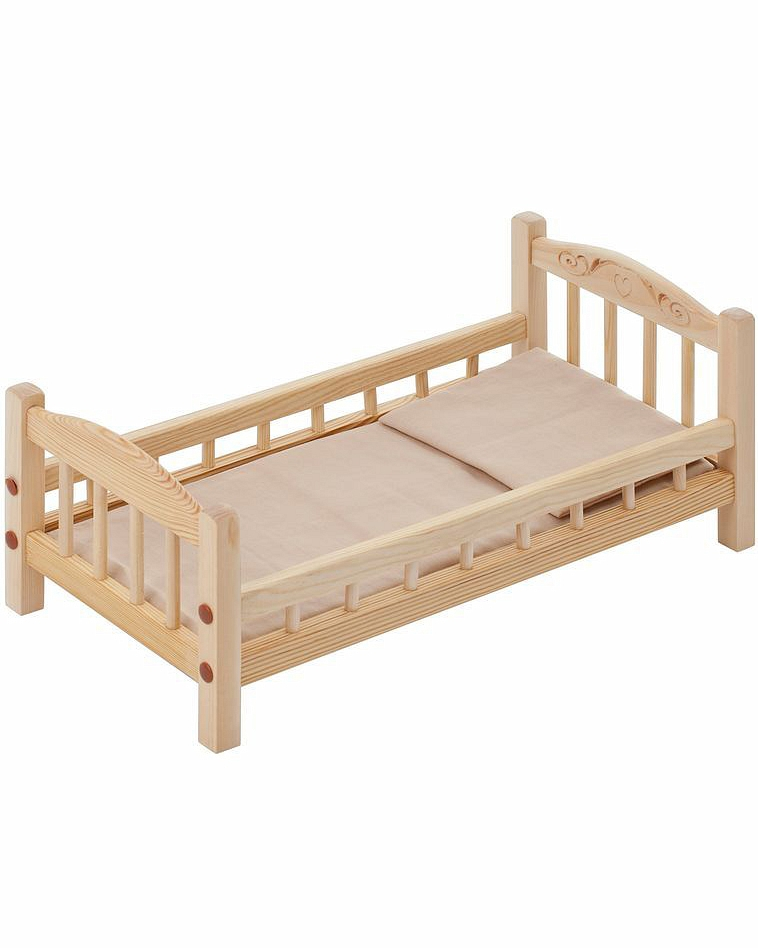 Классическая кроватка для кукол, бежевый текстильДетские кроватки для кукол<br>Классическая кроватка для кукол, бежевый текстиль<br>