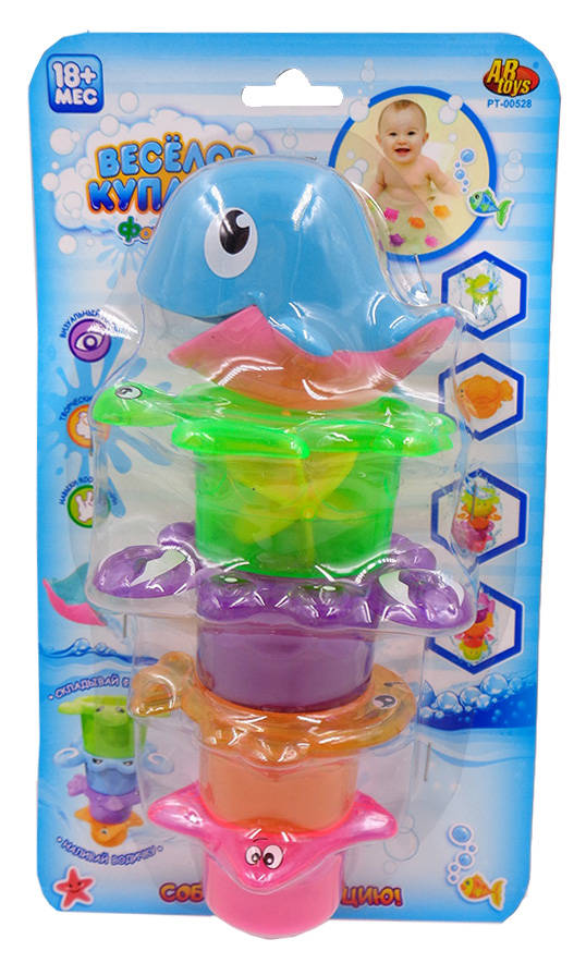 Дельфин для ванной, в наборе с аксессуарами  – Веселое купаниеРазвивающие игрушки<br>Дельфин для ванной, в наборе с аксессуарами  – Веселое купание<br>