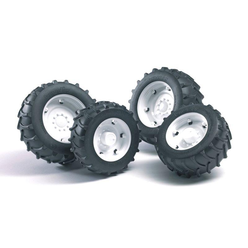 Купить Аксессуары А: Шины для системы сдвоенных колес с белыми дисками, 4 штуки, Bruder