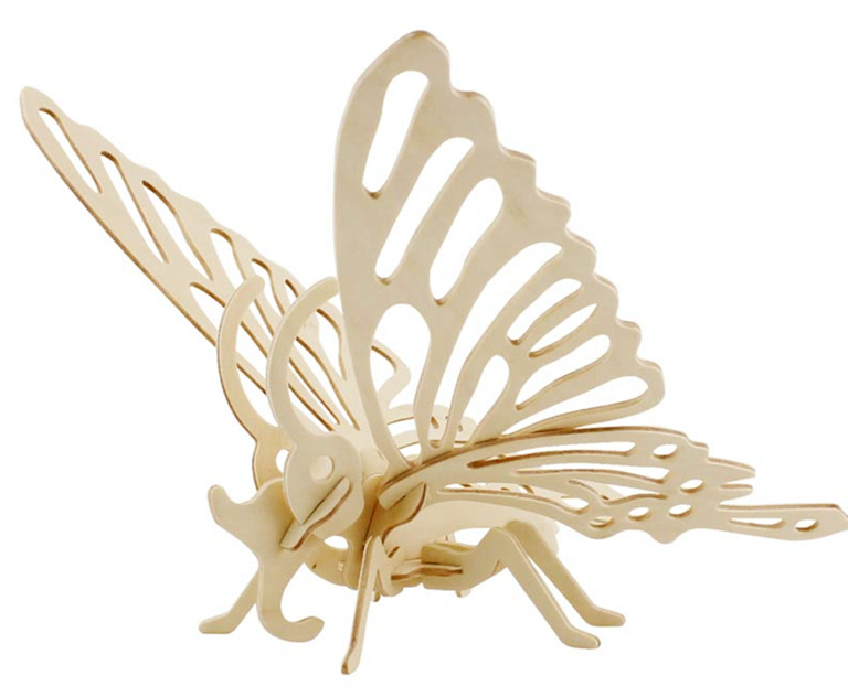 Модель деревянная сборная - Бабочка малаяПазлы объёмные 3D<br>Модель деревянная сборная - Бабочка малая<br>