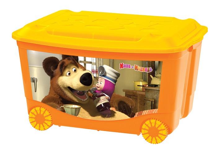 Ящик для игрушек на колесах с аппликацией Маша и Медведь, оранжевыйКорзины для игрушек<br>Ящик для игрушек на колесах с аппликацией Маша и Медведь, оранжевый<br>