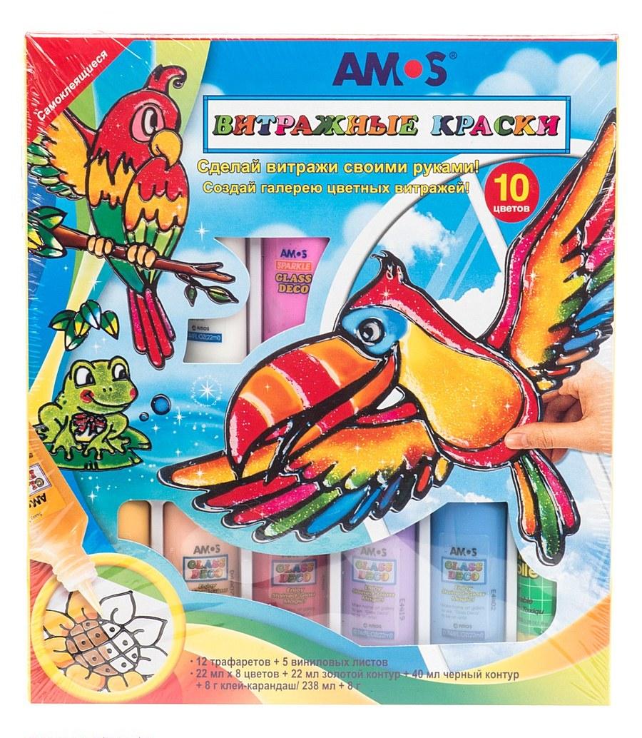 Набор витражных красок – Попугай, 7 цветовВитраж<br>Набор витражных красок – Попугай, 7 цветов<br>