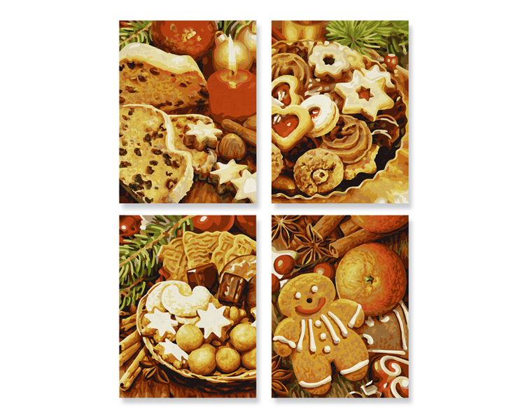Рождественские пряники - 4 картины для раскрашивания, 18х24 см.Раскраски по номерам Schipper<br>Рождественские пряники - 4 картины для раскрашивания, 18х24 см.<br>