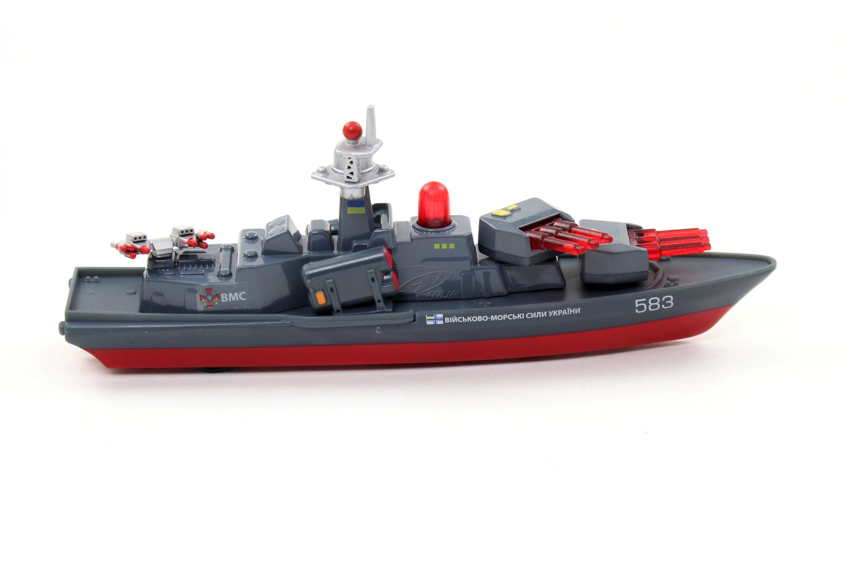 Купить Корабль металлический инерционный со светом и звуком, 18, 5 см., Технопарк