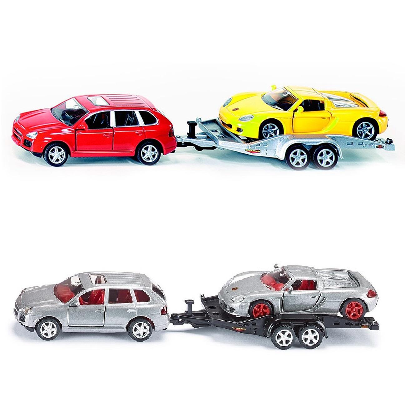 Купить Модель автомобиля Porsche Cayenne Turbo с прицепом и спортивной машиной, 1:55, Siku
