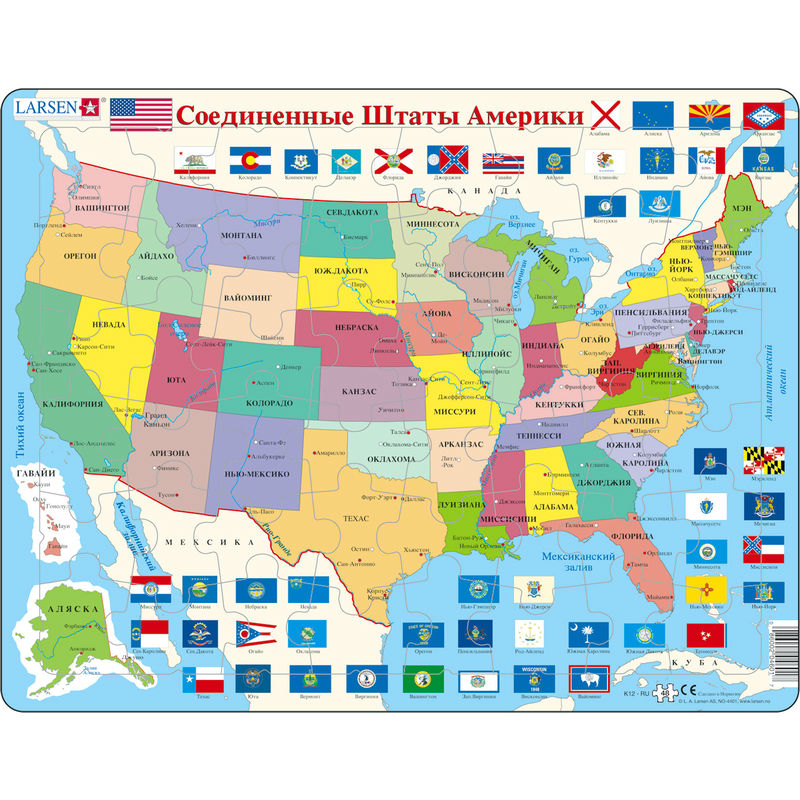 Купить Пазл - Карта штатов США, 48 элементов, Larsen