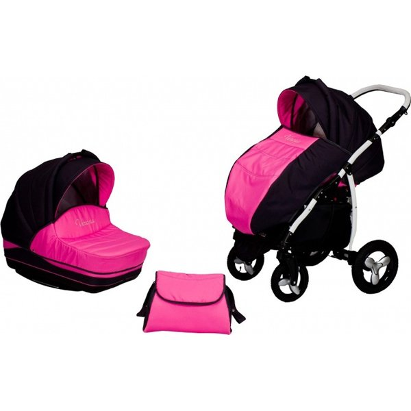 Коляска – Verona, розово-чернаяДетские коляски 2 в 1<br>Коляска – Verona, розово-черная<br>