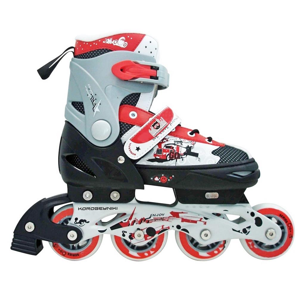 Роликовые коньки PW-151G Коробейники, алюминиевая рама, красные, размер 32-35р - Роликовые коньки детские, артикул: 153253