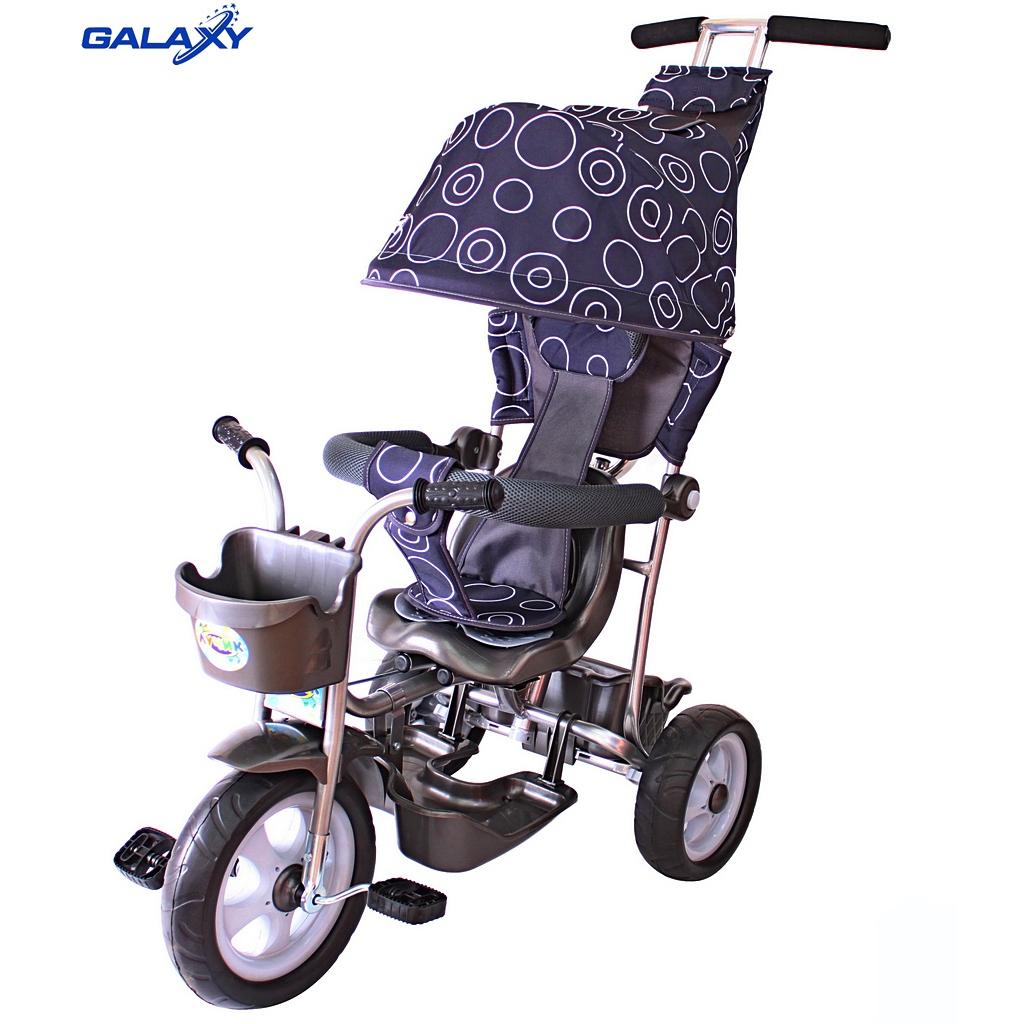 3-х колесный велосипед Galaxy Лучик Л001 с капюшоном, дизайн  круги на сером - Велосипеды детские, артикул: 158625