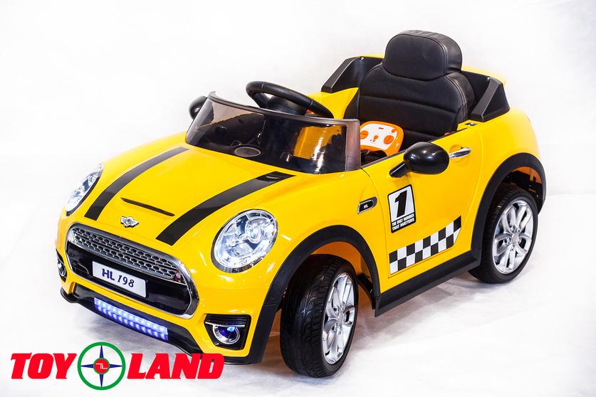 Электромобиль Mini Cooper желтыйЭлектромобили, детские машины на аккумуляторе<br>Электромобиль Mini Cooper желтый<br>
