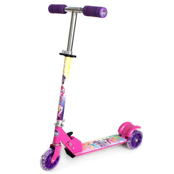 Купить Самокат 3-колесный складной из серии Hasbro My Little Pony с алюминиевым корпусом, пластиковыми светящимися колесами 120 мм.