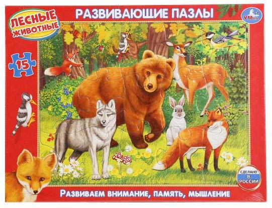 Развивающие пазлы в рамке – Лесные животные, 15 деталейПазлы для малышей<br>Развивающие пазлы в рамке – Лесные животные, 15 деталей<br>