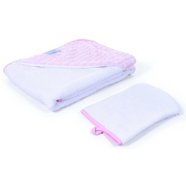 Полотенце с уголком и варежкой Nuovita Grazia 100 x 100, бело-розовый / bianco-rosa