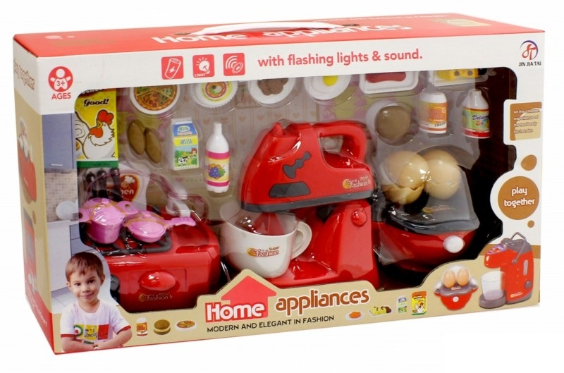 Набор детской посуды и продуктов: блендер, плита, яйцеварка и аксессуарыАксессуары и техника для детской кухни<br>Набор детской посуды и продуктов: блендер, плита, яйцеварка и аксессуары<br>