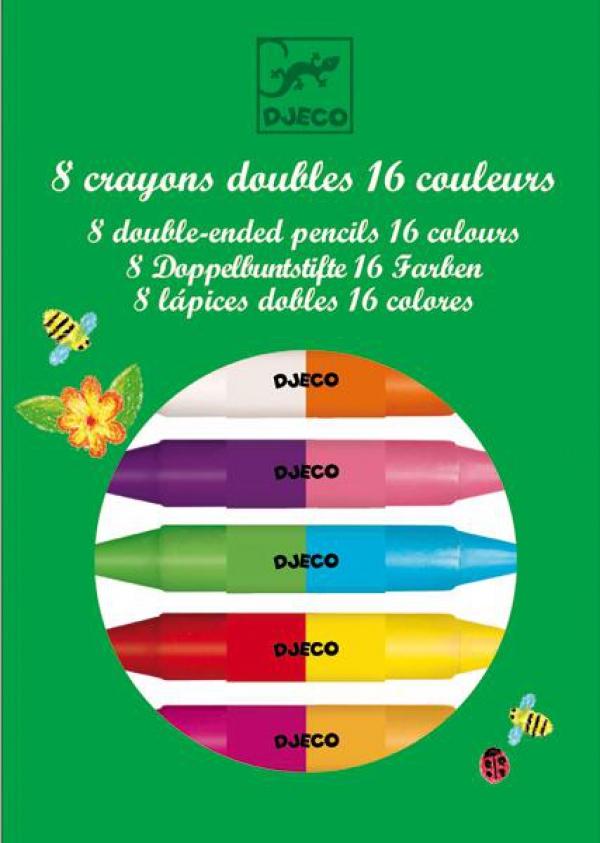 Купить Карандаши двойные, 8 штук, 16 цветов, Djeco