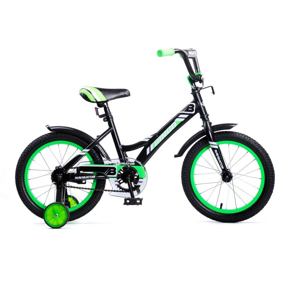 Купить Детский велосипед Navigator Bingo черно-зеленый, колеса 16 , стальная рама, стальные обода, ножной тормоз