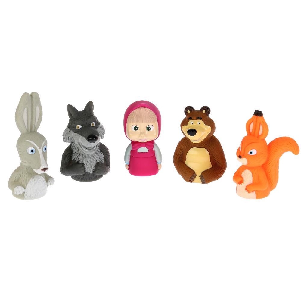 Купить Игрушка для ванны Маша и Медведь - Пальчиковый театр, пластизоль, 5 штук, Играем вместе