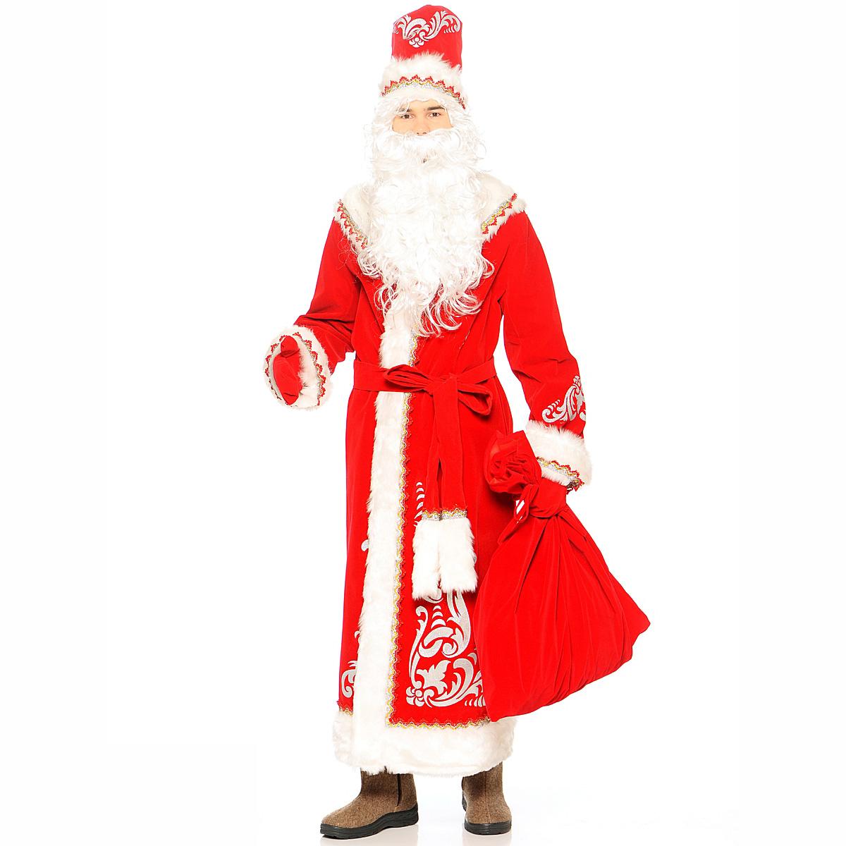 Костюм карнавальный взрослый - Дед Мороз с аппликациями, красный, размер 54-56Карнавальные костюмы<br>Костюм карнавальный взрослый - Дед Мороз с аппликациями, красный, размер 54-56<br>