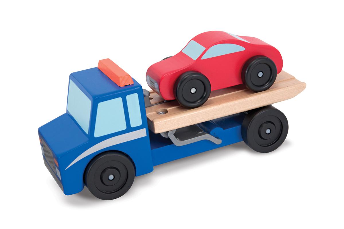Деревянный эвакуатор с машинкой на прицепеПаровозики и машинки<br>Деревянный эвакуатор с машинкой на прицепе<br>