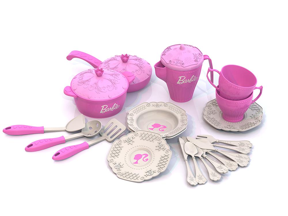 Набор кухонной и чайной посудки Barbie™, – Барби, 21 предметАксессуары и техника для детской кухни<br>Набор кухонной и чайной посудки Barbie™, – Барби, 21 предмет<br>