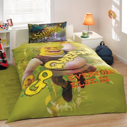 Комплект детского постельного белья, 1,5 спальное - SHREK GO GREENДетское постельное белье<br>Комплект детского постельного белья, 1,5 спальное - SHREK GO GREEN<br>