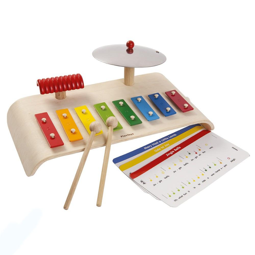 Купить Музыкальный набор с ксилофоном, тарелкой и палочками, Plan Toys