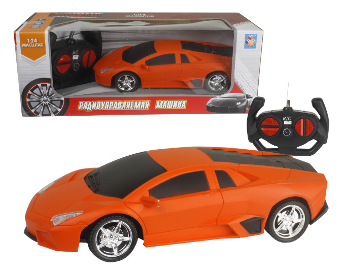 картинка Машина на радиоуправлении, 1:24, 27 МГц, размер машинки 20 см, 4 канала, на батарейках, матовый оранжевый от магазина Bebikam.ru