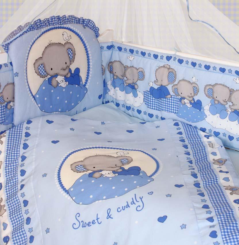 Комплект в кроватку – Слоник Боня, 7 предметов, голубойДетское постельное белье<br>Комплект в кроватку – Слоник Боня, 7 предметов, голубой<br>