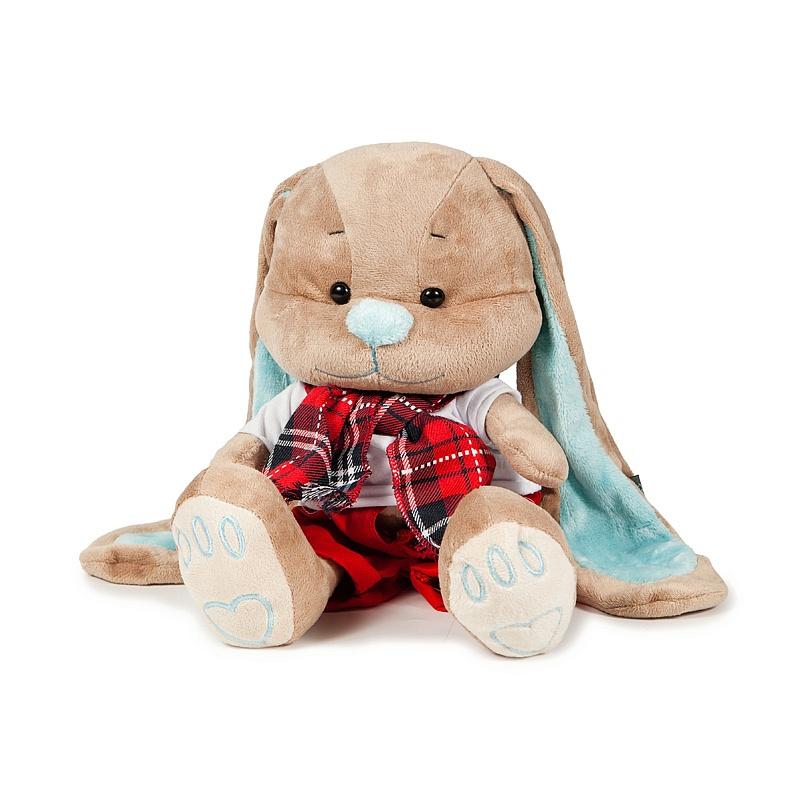 Зайчик Жак в красных штанишках с шарфом, 25 смЗайцы и кролики<br>Зайчик Жак в красных штанишках с шарфом, 25 см<br>