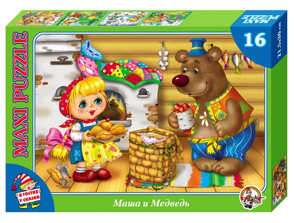 Купить Пазл макси «В гостях у сказки. Маша и медведь», 16 элементов, Десятое королевство