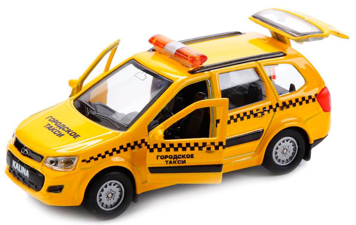 Купить Машина металлическая инерционная – Лада Калина Кросс Такси, 12 см, открываются двери, Технопарк